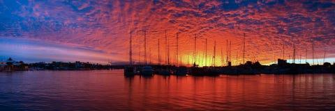 Marina Sunset Panorama Royaltyfria Bilder