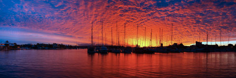 Marina Sunset Panorama. Royalty Free Stock Images