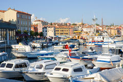 Marina in the sunset, Rovinj, Croatia Stock Photography