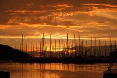 Marina in sunset Stock Photography