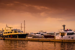 Marina Sunset In A Strange Weather Stock Photography
