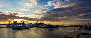 Marina Sunset. View of Sochi Marina at sunset in October Royalty Free Stock Photos