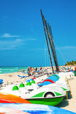Marina and tourists enjoying the beach in Varadero,Cuba Royalty Free Stock Photo