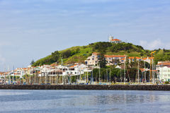 Marina and town of Horta, Faial Island Stock Photos