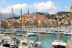 Marina and town of Menton in France. Stock Photo