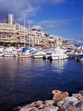 Marina and town, Monte Carlo, Monaco. Royalty Free Stock Images