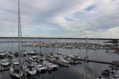 Marina in traverse city. Sailboats parked at a marina in Michigan Royalty Free Stock Photos