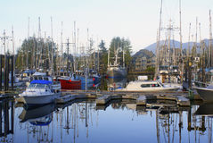 Marina at Uclelet Harbor on the west coast. Of Vancouver Island Stock Photos