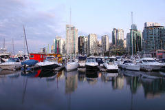 Marina & Vancouver BC skyline. Stock Photo