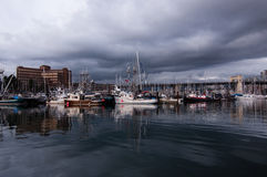 Marina in Vancouver. At Granville Island with storm rain clouds royalty free stock photos