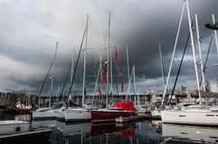 Marina in Vancouver. At Granville Island with storm rain clouds stock image