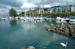 Marina in Vevey at Geneve lake in Switzerland Royalty Free Stock Image