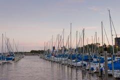Marina. Sailboats twilight yachting Stock Photos