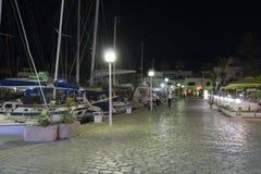 Marina vid natt Arkivbild