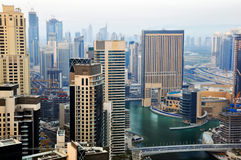 Marina View. A high level view of the Marina showing luxury buildings and towers stock images