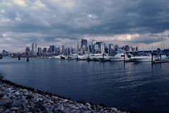 Marina with a view of NYC skyline Royalty Free Stock Images