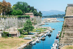 Marina view from The Old Harbor in Corfu Royalty Free Stock Photo