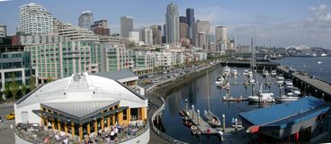 Marina view in seattle. View of the marina and downtown in seattle stock images