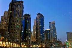 Marina Views 2. An sunset view of Luxury apartment towers in Dubai Marina Stock Photo
