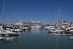Marina Vilamoura , Algarve, Portugal, Europe. Vilamoura, Portugal - March 26, 2018: Luxury Yachts and motor boats moored at the marina of Vilamoura with stock photography