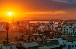 Marina w Agadir mieście przy zmierzchem, Maroko Zdjęcie Stock