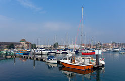 Marina Weymouth Dorset UK with boats and yachts on a calm summer day Royalty Free Stock Image