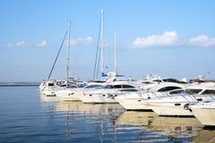 Marina of white sea yachts in a harbor Royalty Free Stock Photography