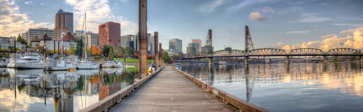 Marina on Willamette River in Portland Oregon Stock Photos