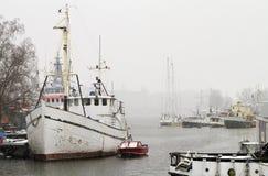 Marina in winter. Royalty Free Stock Photography