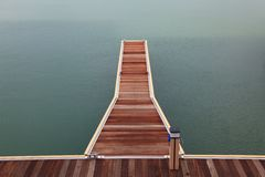 Marina wooden jetty walkway Stock Photography