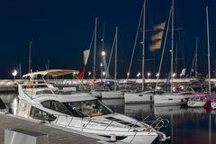 Marina with yacht boats in Sopot at night, Poland Stock Photos
