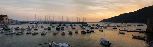 Marina yacht. Boats and yachts in marina on the sunset Royalty Free Stock Image