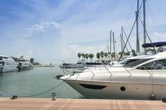 Marina Yacht. Docking of pleasure luxurious yacht at marina Stock Photo