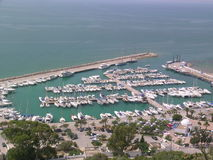 Marina with yachts. View of marina with yachts in Sidi Bou Said (Tunisia stock images
