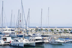 Marina with yachts and boats royalty free stock image
