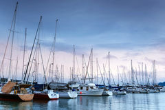 Marina with yachts in the evening Stock Images
