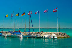 Marina for yachts. The international marina for yachts on the lake Royalty Free Stock Images