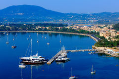 Marina with yachts, Kerkyra, Corfu Royalty Free Stock Photos