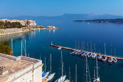 Marina with yachts, Kerkyra, Corfu island, Greece Royalty Free Stock Photo