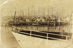 Marina with yachts. Old style photo Royalty Free Stock Images