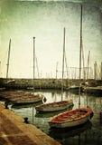 Marina with yachts. Old style photo. Stock Photos