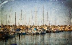 Marina with yachts. Old style photo. Stock Photo