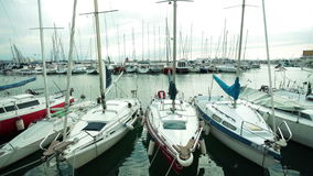 Marina with yachts. Marina ports with bouts and yachts on cloudy day stock footage