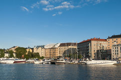 Marina with yachts and residentual buildings Helsinki Stock Photo