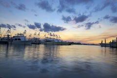 Southern Florida Marina with yachts at dusk. Yachts on a marina in Southern Florida stock images