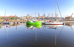 Marina with yachts at sunrise. Stock Photography