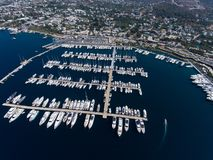 Marina in Yalikavak Bodrum. An aerial view of the marina in Yalikavak, Bodrum, Turkey royalty free stock photos