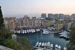 Marina z luksusowymi jachtami w Fontvielle, Monaco Fotografia Royalty Free