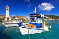 Marina z łodziami na zatoce Zakynthos Zdjęcia Stock