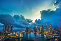 Marinabay sandpapprar cityscape, Singapore Arkivbilder